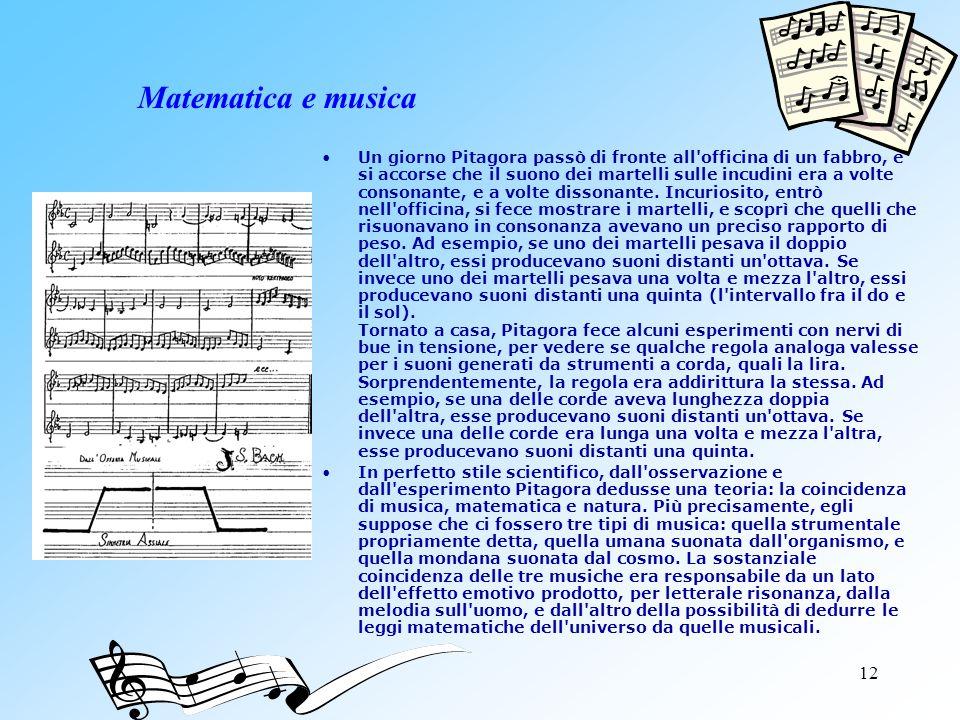 12 Matematica e musica Un giorno Pitagora passò di fronte all'officina di un fabbro, e si accorse che il suono dei martelli sulle incudini era a volte