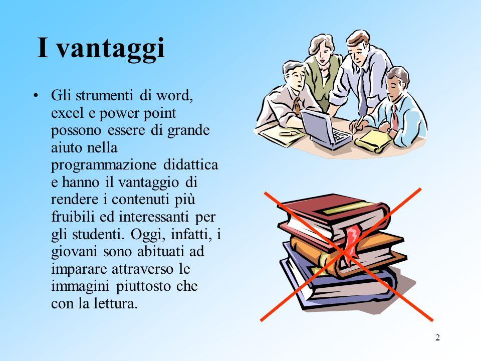 2 I vantaggi Gli strumenti di word, excel e power point possono essere di grande aiuto nella programmazione didattica e hanno il vantaggio di rendere