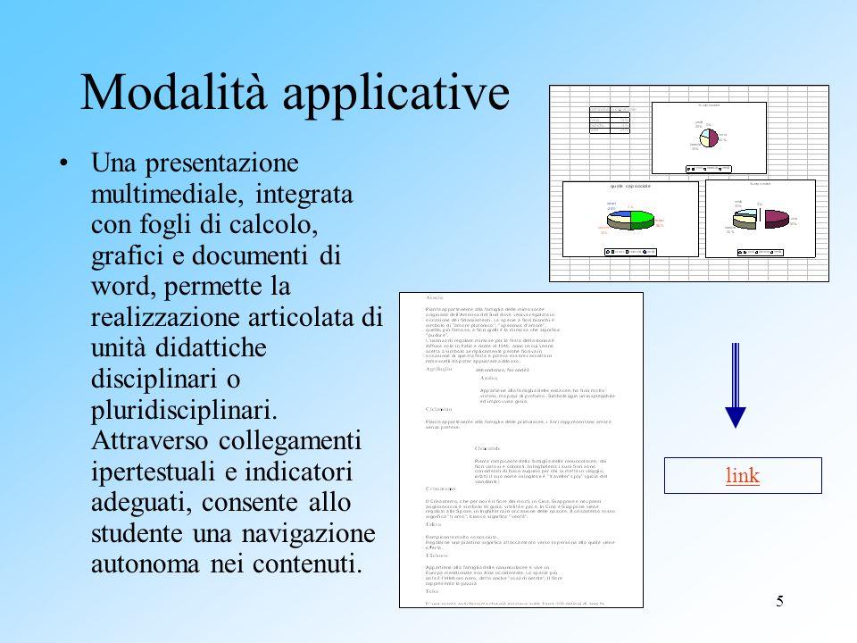 5 Modalità applicative Una presentazione multimediale, integrata con fogli di calcolo, grafici e documenti di word, permette la realizzazione articola