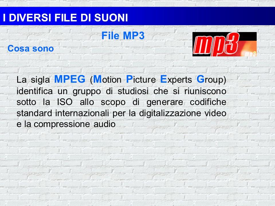 I DIVERSI FILE DI SUONI File di forme donda File MIDI Estensione.WAV Memorizzano informazioni sulle onde acustiche e sono prodotti dal processo di cam
