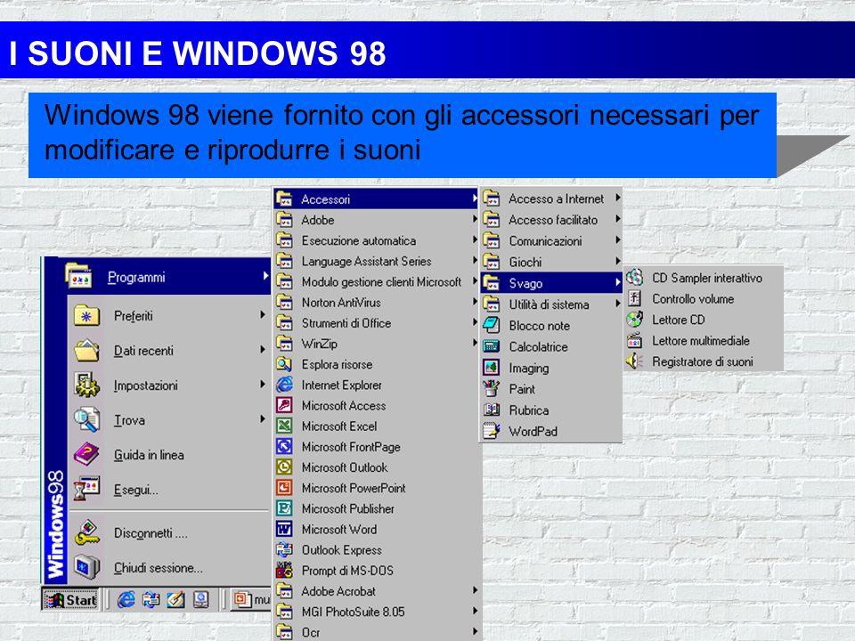 LA MULTIMEDIALITA E WINDOWS 98 rileva automaticamente i dispositivi multimediali e li configura le sue applicazioni supportano la multimedialità la su