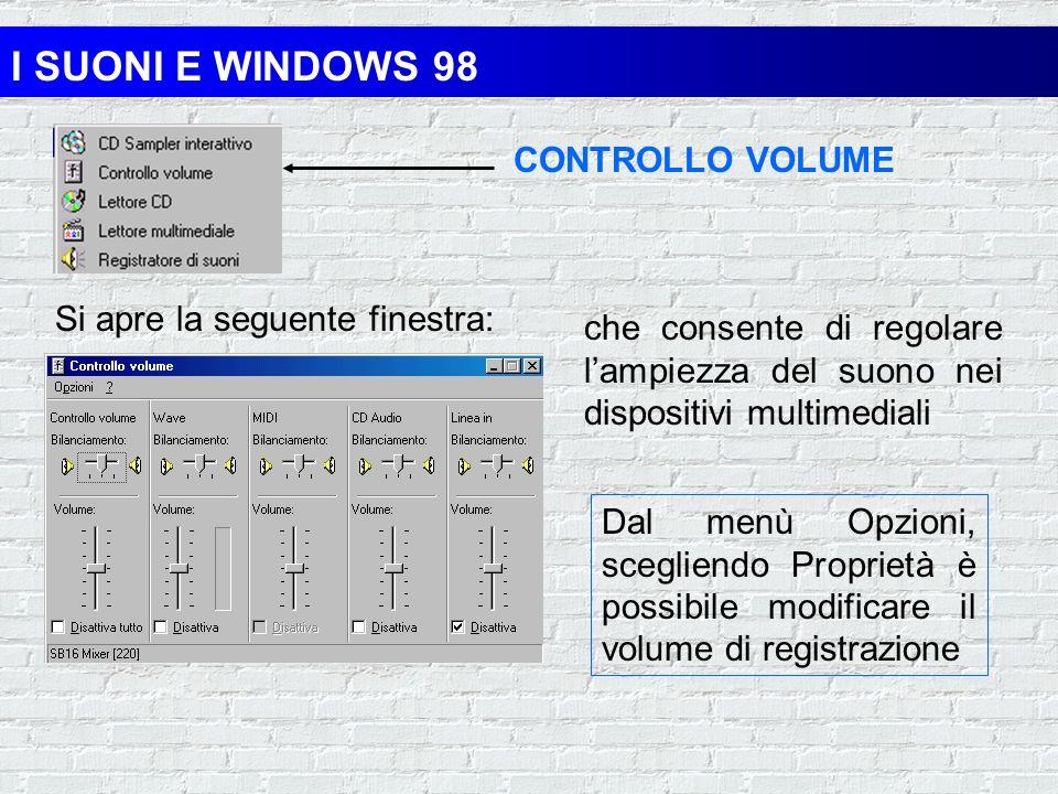 I SUONI E WINDOWS 98 Windows 98 viene fornito con gli accessori necessari per modificare e riprodurre i suoni