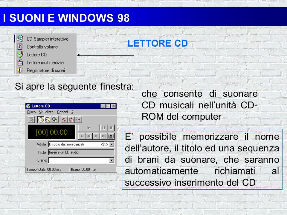 I SUONI E WINDOWS 98 CONTROLLO VOLUME Si apre la seguente finestra: che consente di regolare lampiezza del suono nei dispositivi multimediali Dal menù