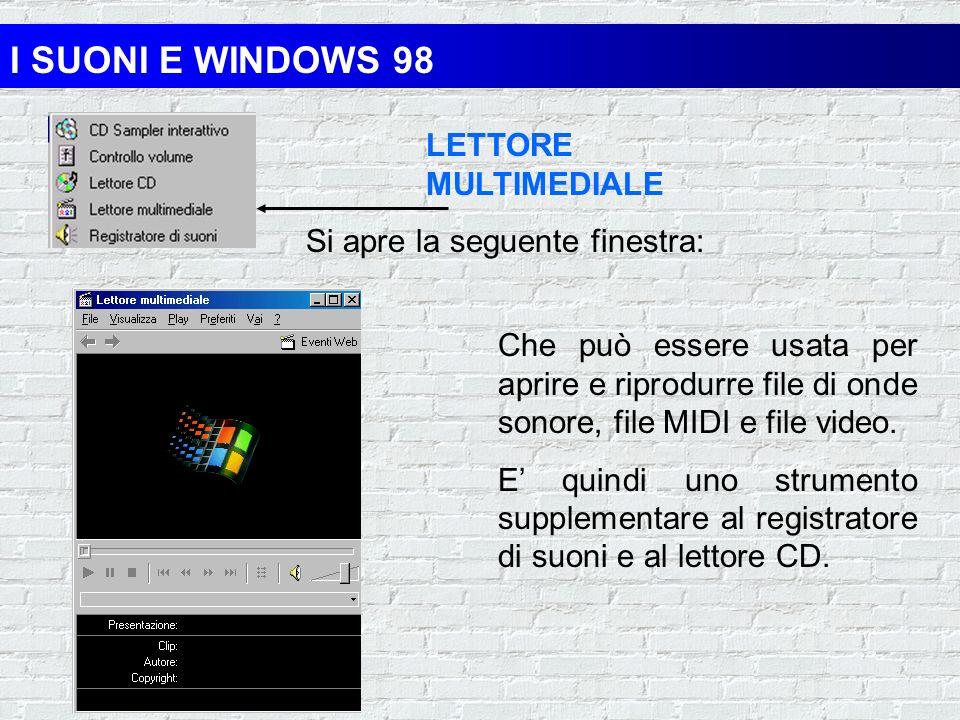 I SUONI E WINDOWS 98 LETTORE CD che consente di suonare CD musicali nellunità CD- ROM del computer Si apre la seguente finestra: E possibile memorizza
