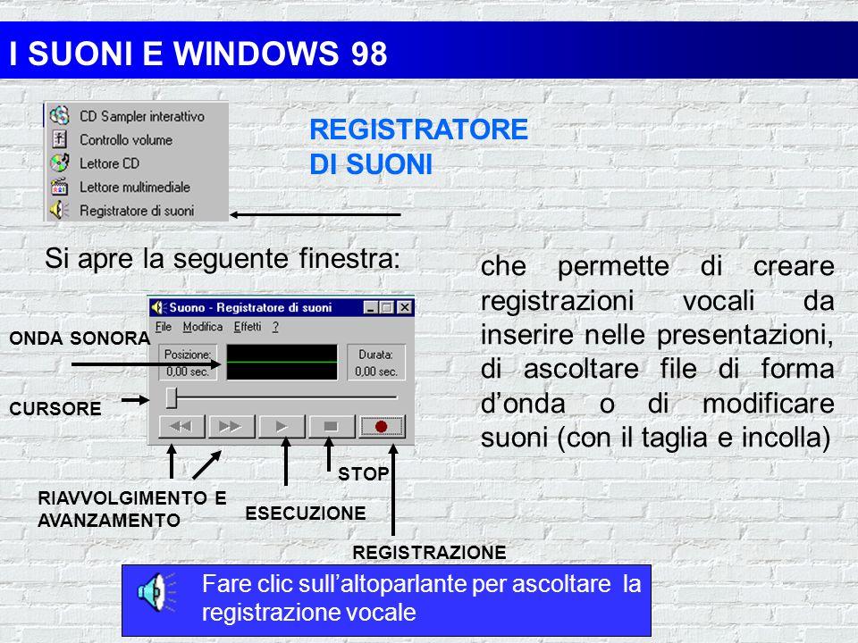 I SUONI E WINDOWS 98 LETTORE MULTIMEDIALE Si apre la seguente finestra: Che può essere usata per aprire e riprodurre file di onde sonore, file MIDI e