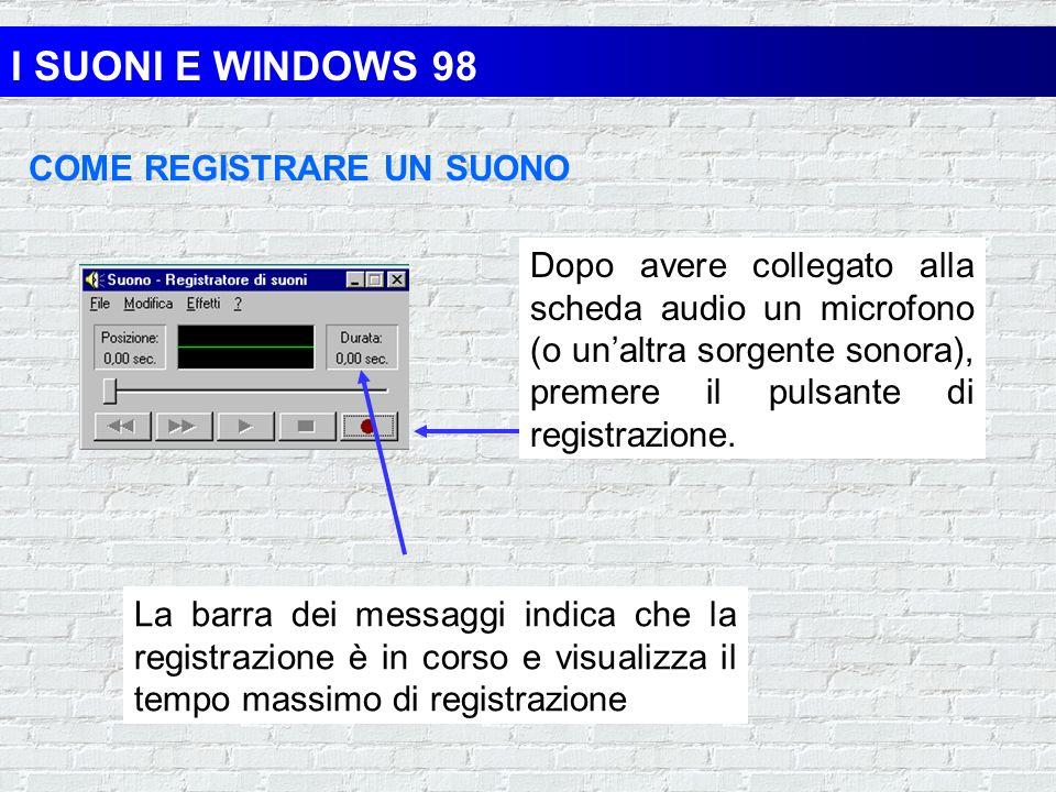 I SUONI E WINDOWS 98 REGISTRATORE DI SUONI Si apre la seguente finestra: ONDA SONORA ESECUZIONE STOP REGISTRAZIONE CURSORE RIAVVOLGIMENTO E AVANZAMENT