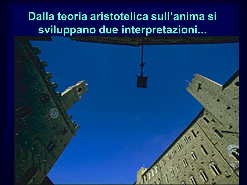 Dalla teoria aristotelica sullanima si sviluppano due interpretazioni...