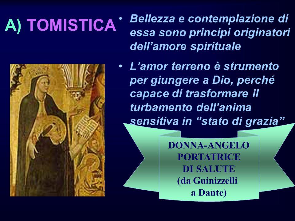 A) TOMISTICA Bellezza e contemplazione di essa sono principi originatori dellamore spirituale Lamor terreno è strumento per giungere a Dio, perché capace di trasformare il turbamento dellanima sensitiva in stato di grazia DONNA-ANGELO PORTATRICE DI SALUTE (da Guinizzelli a Dante)