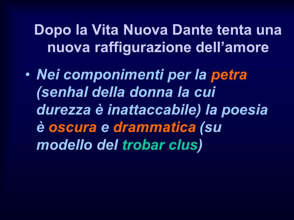 Dopo la Vita Nuova Dante tenta una nuova raffigurazione dellamore Nei componimenti per la petra (senhal della donna la cui durezza è inattaccabile) la poesia è oscura e drammatica (su modello del trobar clus)