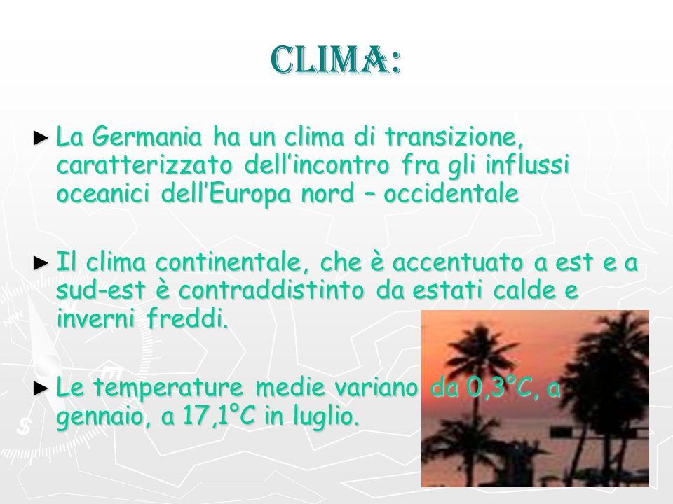 CLIMA: La Germania ha un clima di transizione, caratterizzato dellincontro fra gli influssi oceanici dellEuropa nord – occidentale La Germania ha un c