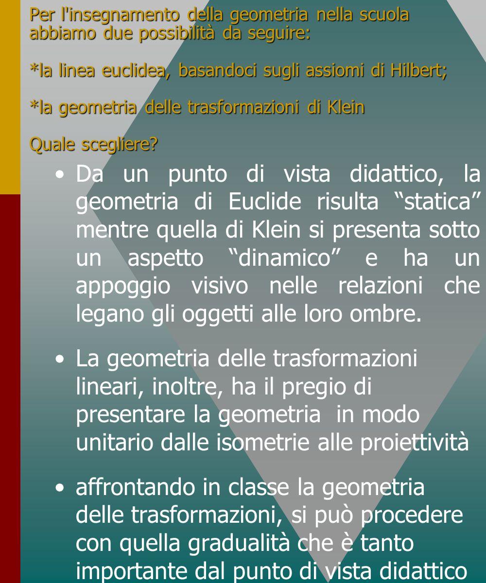 Per l'insegnamento della geometria nella scuola abbiamo due possibilità da seguire: *la linea euclidea, basandoci sugli assiomi di Hilbert; *la geomet