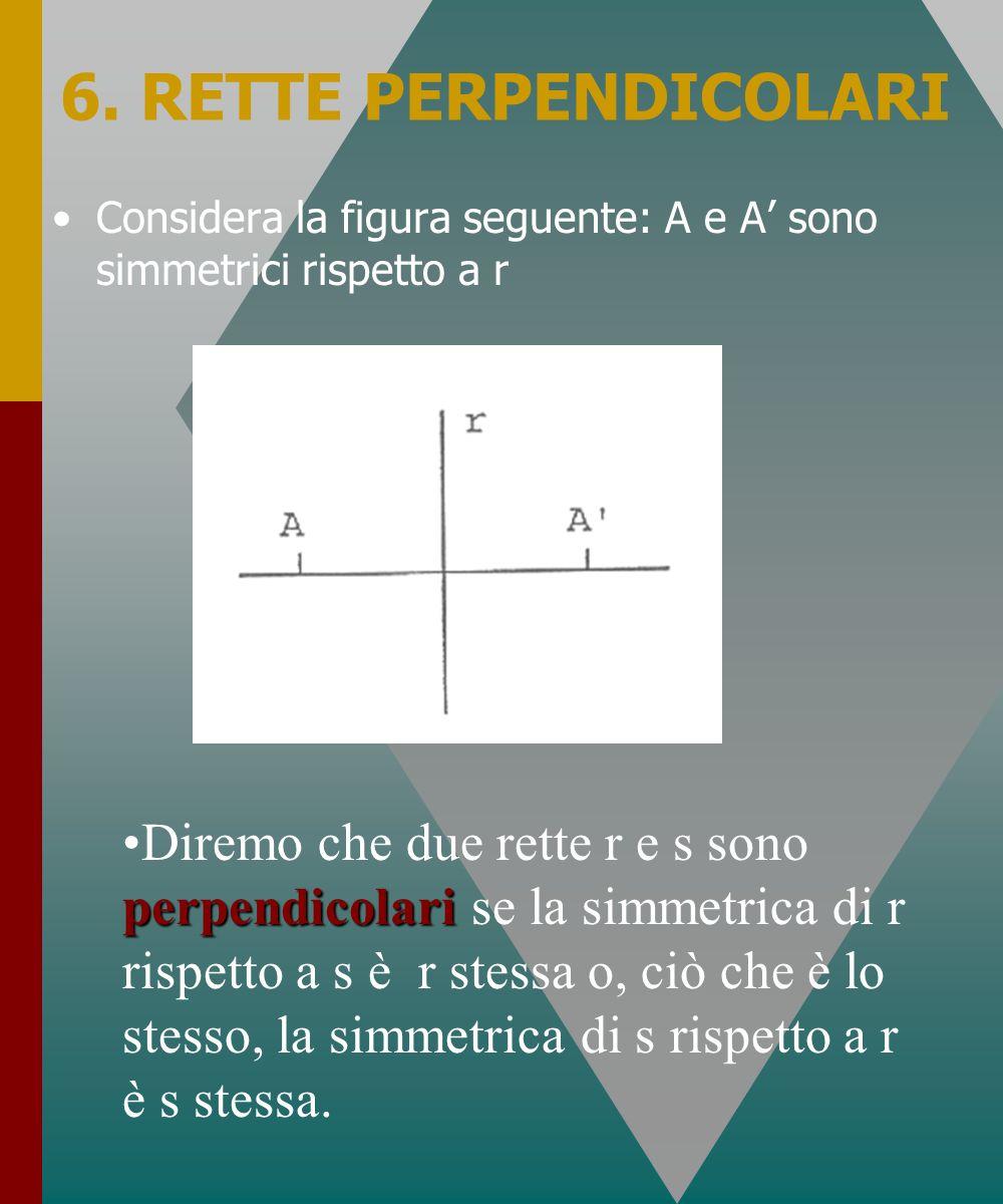 6. RETTE PERPENDICOLARI Considera la figura seguente: A e A sono simmetrici rispetto a r perpendicolariDiremo che due rette r e s sono perpendicolari