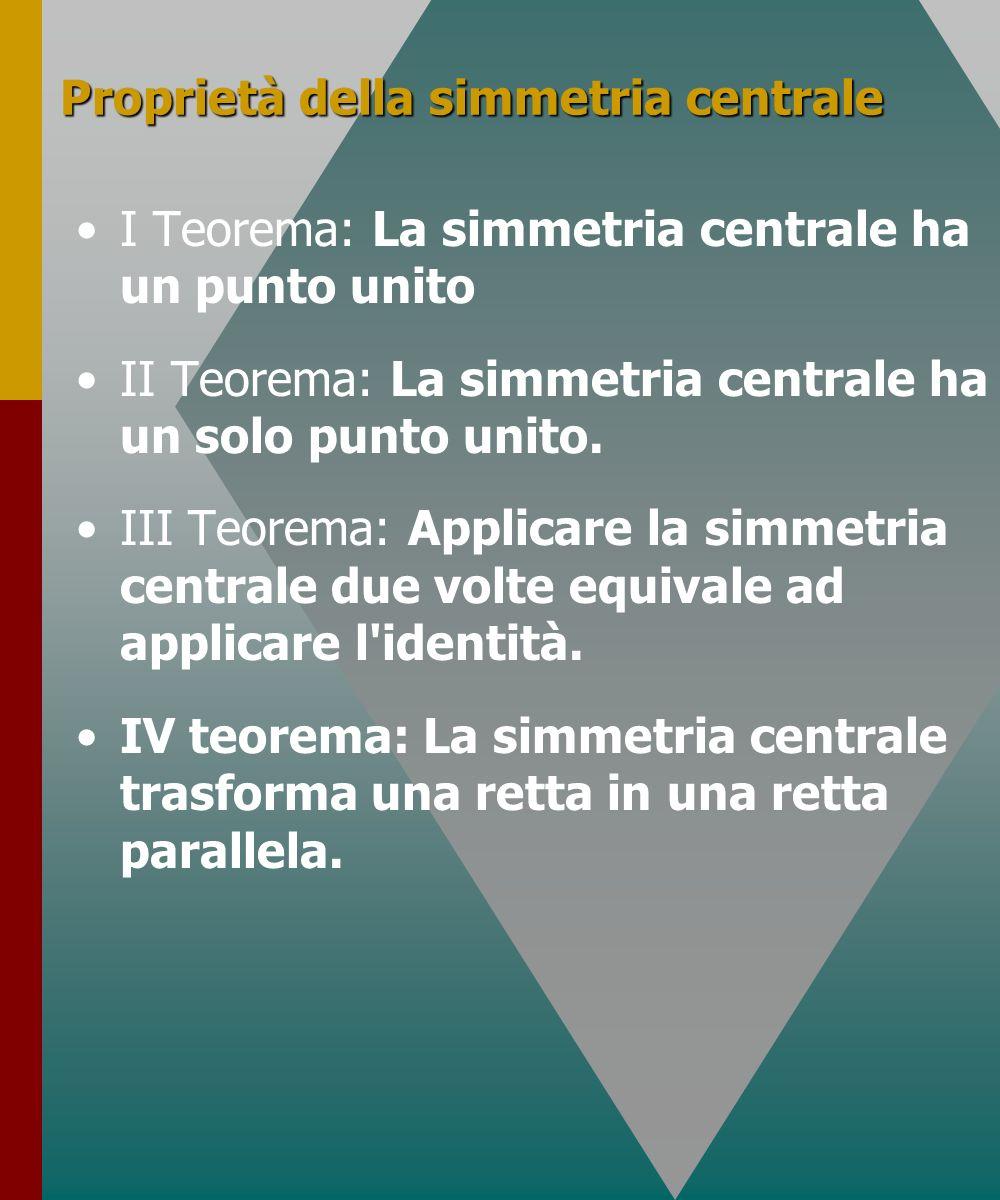 Proprietà della simmetria centrale I Teorema: La simmetria centrale ha un punto unito II Teorema: La simmetria centrale ha un solo punto unito. III Te