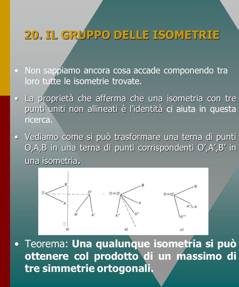 20. IL GRUPPO DELLE ISOMETRIE Non sappiamo ancora cosa accade componendo tra loro tutte le isometrie trovate. La proprietà che afferma che una isometr