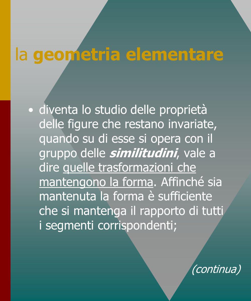 la geometria elementare diventa lo studio delle proprietà delle figure che restano invariate, quando su di esse si opera con il gruppo delle similitud