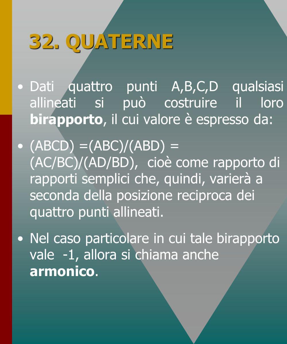 32. QUATERNE Dati quattro punti A,B,C,D qualsiasi allineati si può costruire il loro birapporto, il cui valore è espresso da: (ABCD) =(ABC)/(ABD) = (A