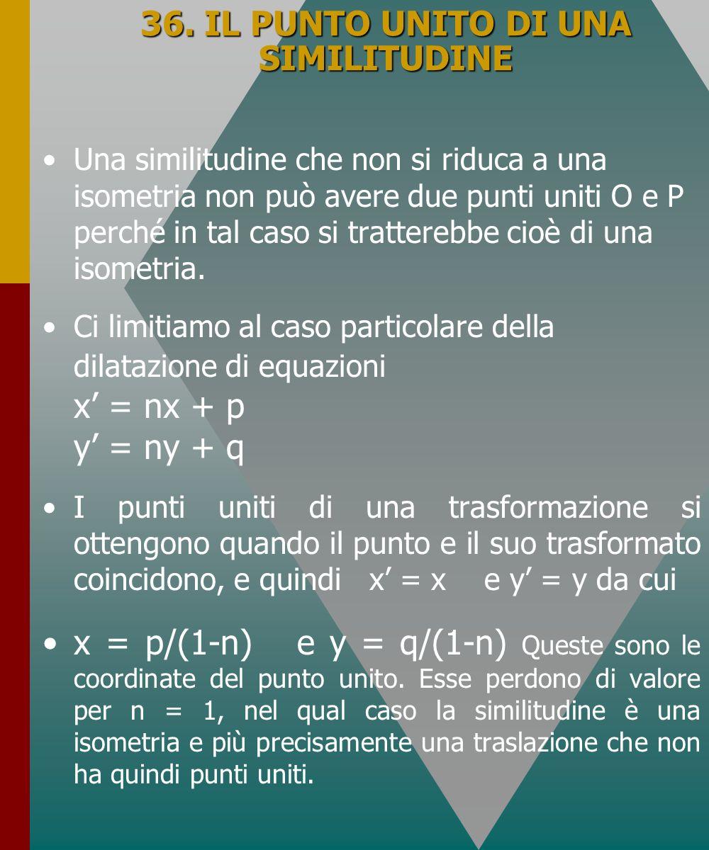36. IL PUNTO UNITO DI UNA SIMILITUDINE Una similitudine che non si riduca a una isometria non può avere due punti uniti O e P perché in tal caso si tr