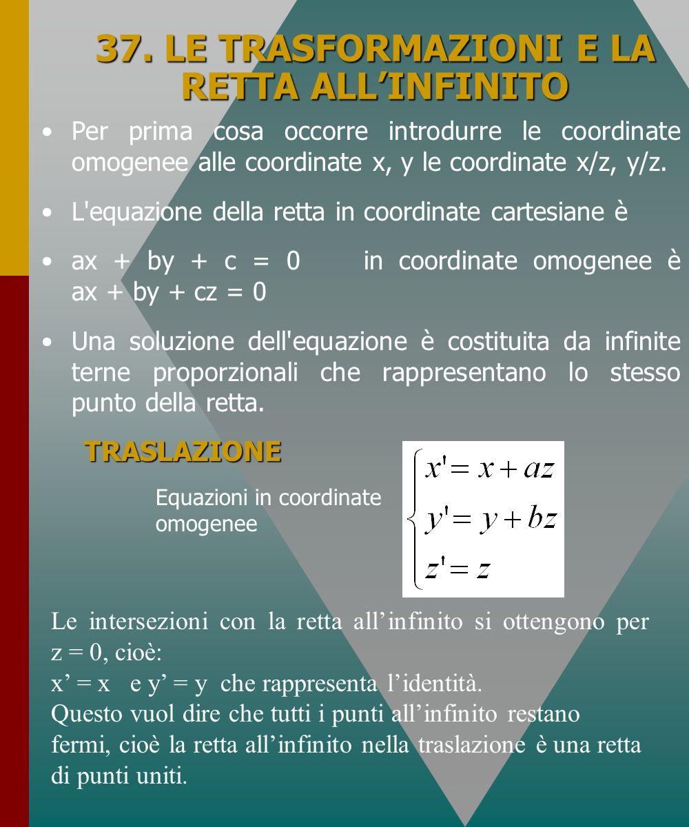 37. LE TRASFORMAZIONI E LA RETTA ALLINFINITO Per prima cosa occorre introdurre le coordinate omogenee alle coordinate x, y le coordinate x/z, y/z. L'e