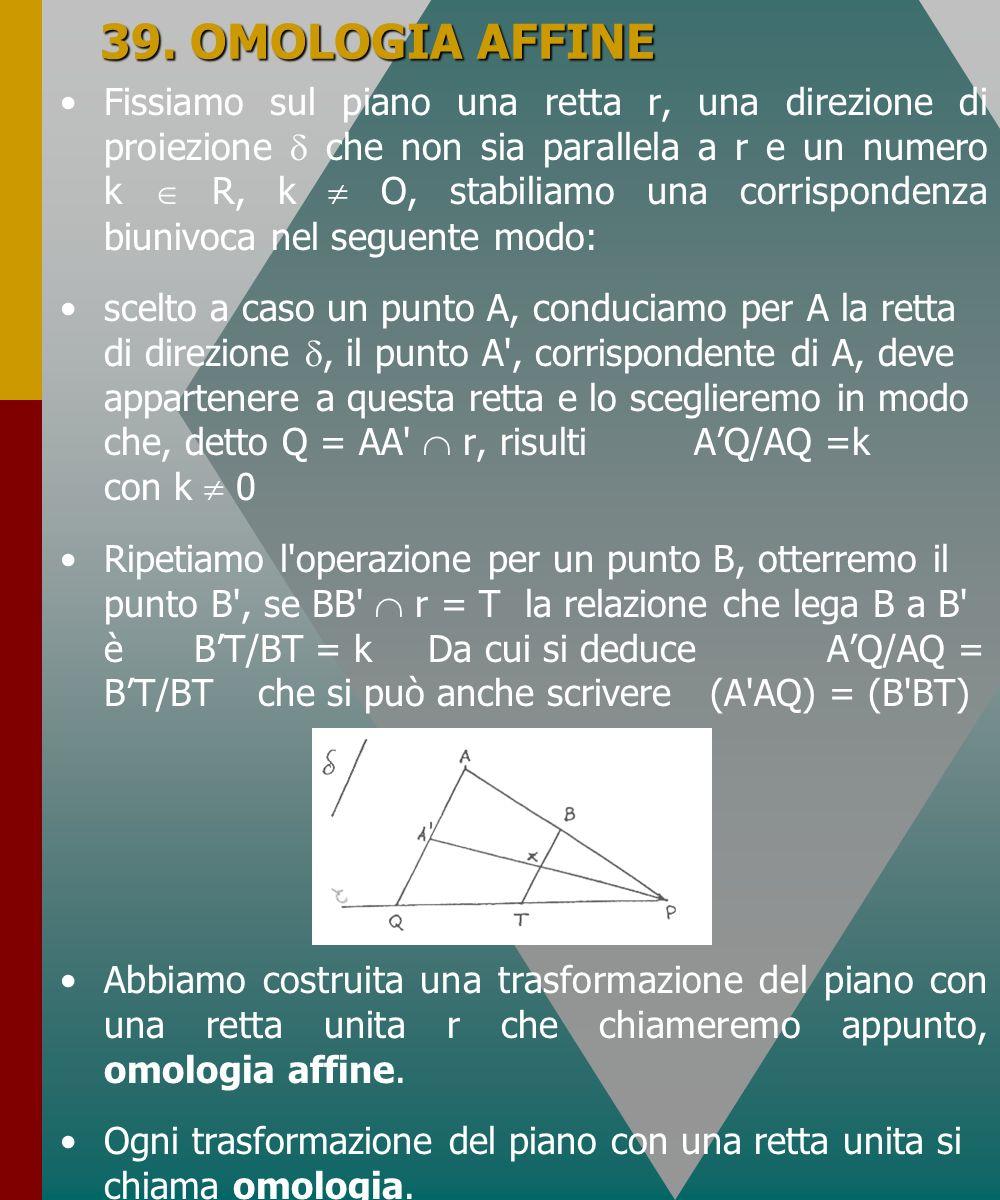 39. OMOLOGIA AFFINE Fissiamo sul piano una retta r, una direzione di proiezione che non sia parallela a r e un numero k R, k O, stabiliamo una corrisp