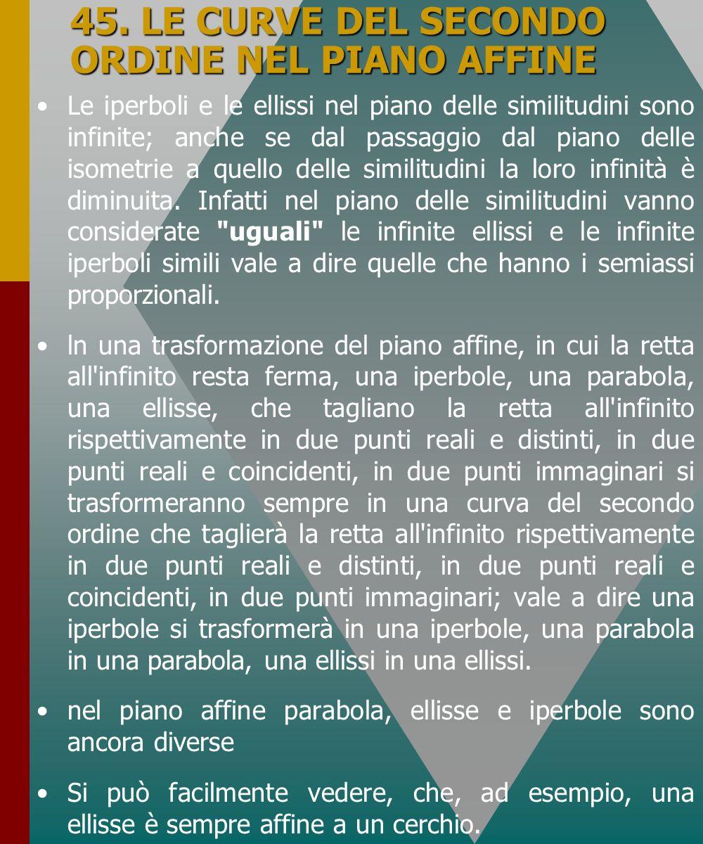 45. LE CURVE DEL SECONDO ORDINE NEL PIANO AFFINE Le iperboli e le ellissi nel piano delle similitudini sono infinite; anche se dal passaggio dal piano