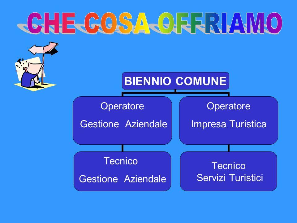 BIENNIO COMUNE Operatore Gestione Aziendale Tecnico Gestione Aziendale Operatore Impresa Turistica Tecnico Servizi Turistici