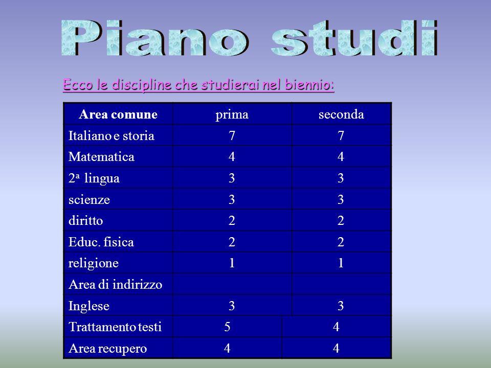 Ecco le discipline che studierai nel biennio: Area comuneprimaseconda Italiano e storia77 Matematica44 2 a lingua33 scienze33 diritto22 Educ.