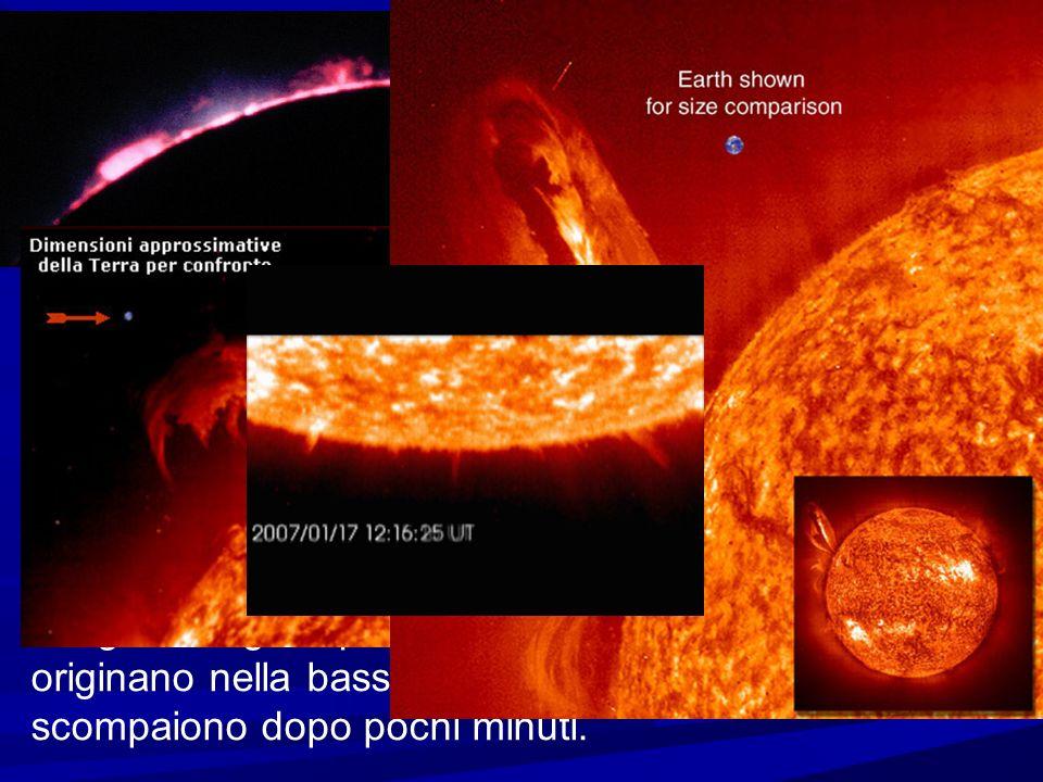L atmosfera e la cromosfera Sopra la fotosfera c e l atmosfera solare, la cui parte inferiore e detta cromosfera, uno strato di gas caldo (10-20.000 gradi) dello spessore di 2.000 Km Se osservata con un filtro rosso, la cromosfera appare molto irregolare a causa di fenomeni che riguardano il gas degli strati i piu esterni.