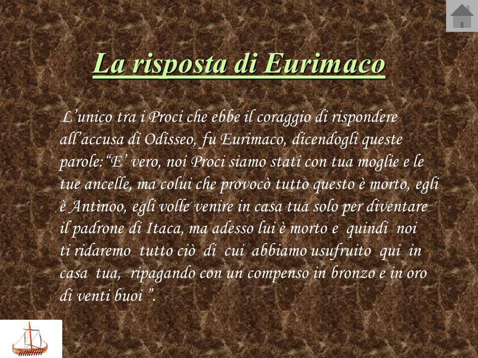 La risposta di Eurimaco Lunico tra i Proci che ebbe il coraggio di rispondere allaccusa di Odisseo, fu Eurimaco, dicendogli queste parole:E vero, noi