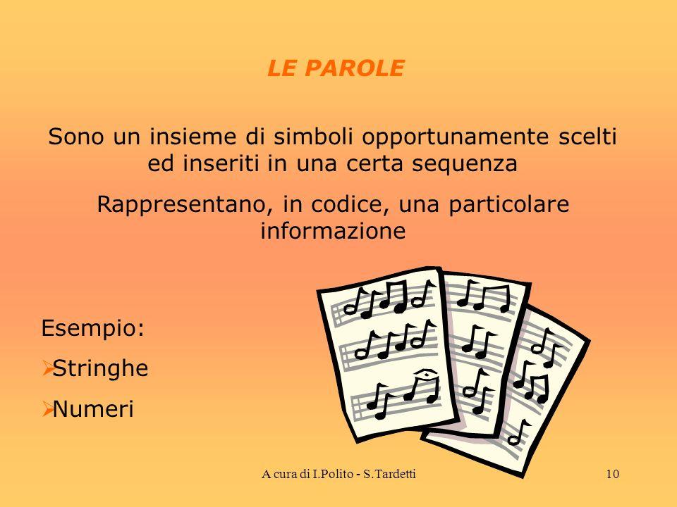 A cura di I.Polito - S.Tardetti9 I SIMBOLI Sono tutti i possibili elementi che vengono utilizzati per costruire un codice.