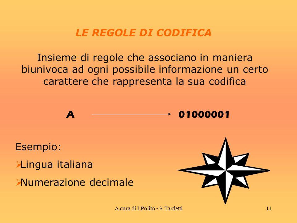 A cura di I.Polito - S.Tardetti10 LE PAROLE Sono un insieme di simboli opportunamente scelti ed inseriti in una certa sequenza Rappresentano, in codice, una particolare informazione Esempio: Stringhe Numeri
