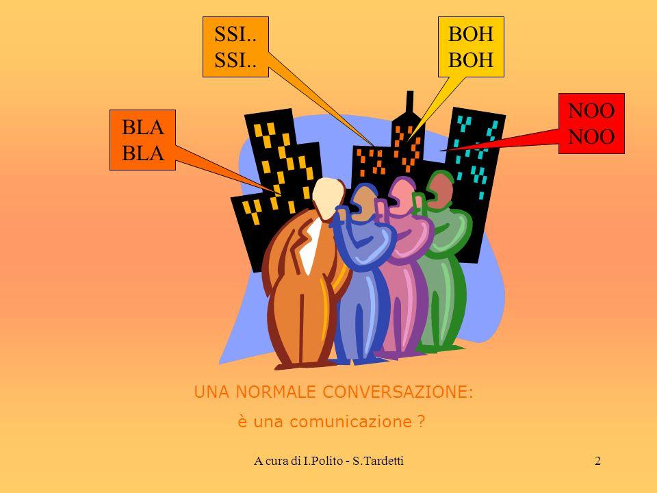 A cura di I.Polito - S.Tardetti12 COMUNICAZIONE E INFORMAZIONE Linformazione è ciò che si scambia attraverso il processo di comunicazione E possibile misurare la quantità di informazione fornita da un emittente 00110011 …….