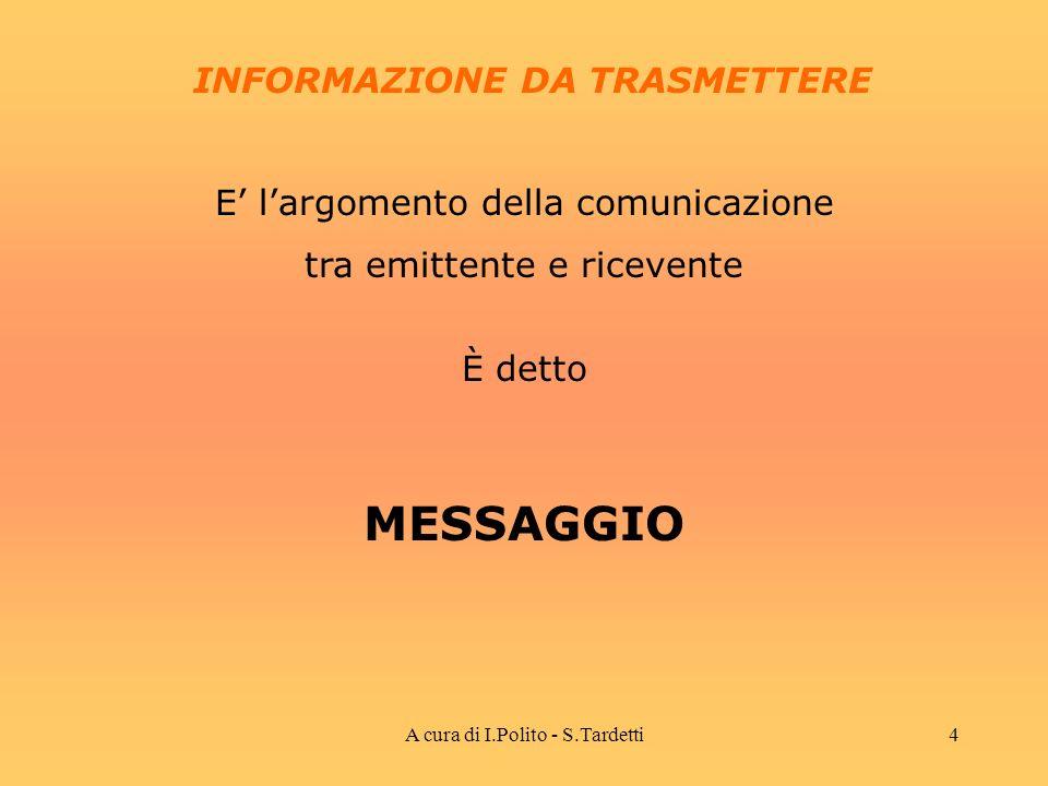 A cura di I.Polito - S.Tardetti3 CANALE TRASMISSIVO EMITTENTEDESTINATARIO E colui che invia il messaggio E il mezzo fisico che funge da supporto per la trasmissione del messaggio E colui che riceve il messaggio LA TRASMISSIONE DEL MESSAGGIO