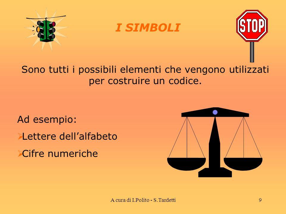 A cura di I.Polito - S.Tardetti8 CODIFICA DELLINFORMAZIONE Avviene attraverso luso di CODICI composti da Simboli Parole Regole di codifica