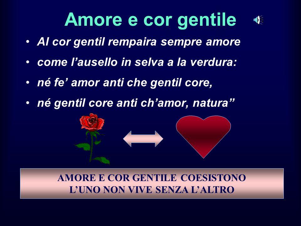 Al cor gentil rempaira sempre amore come lausello in selva a la verdura: né fe amor anti che gentil core, né gentil core anti chamor, natura Amore e c