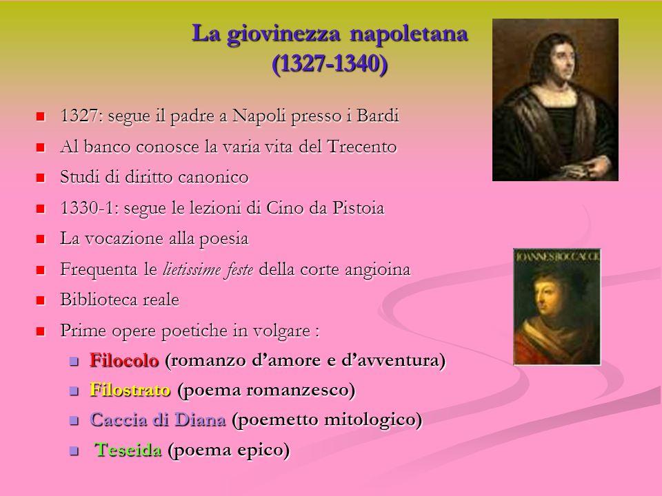 La giovinezza napoletana (1327-1340) 1327: segue il padre a Napoli presso i Bardi 1327: segue il padre a Napoli presso i Bardi Al banco conosce la var