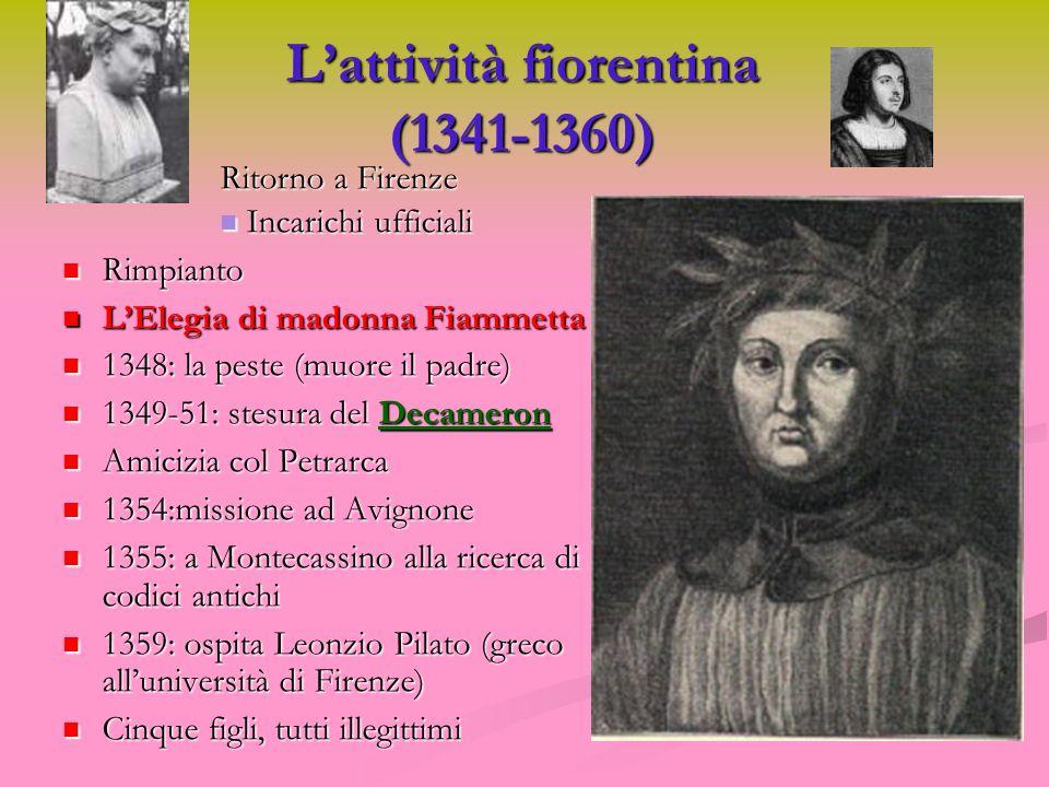 Lattività fiorentina (1341-1360) Ritorno a Firenze Incarichi ufficiali Incarichi ufficiali Rimpianto Rimpianto LElegia di madonna Fiammetta LElegia di