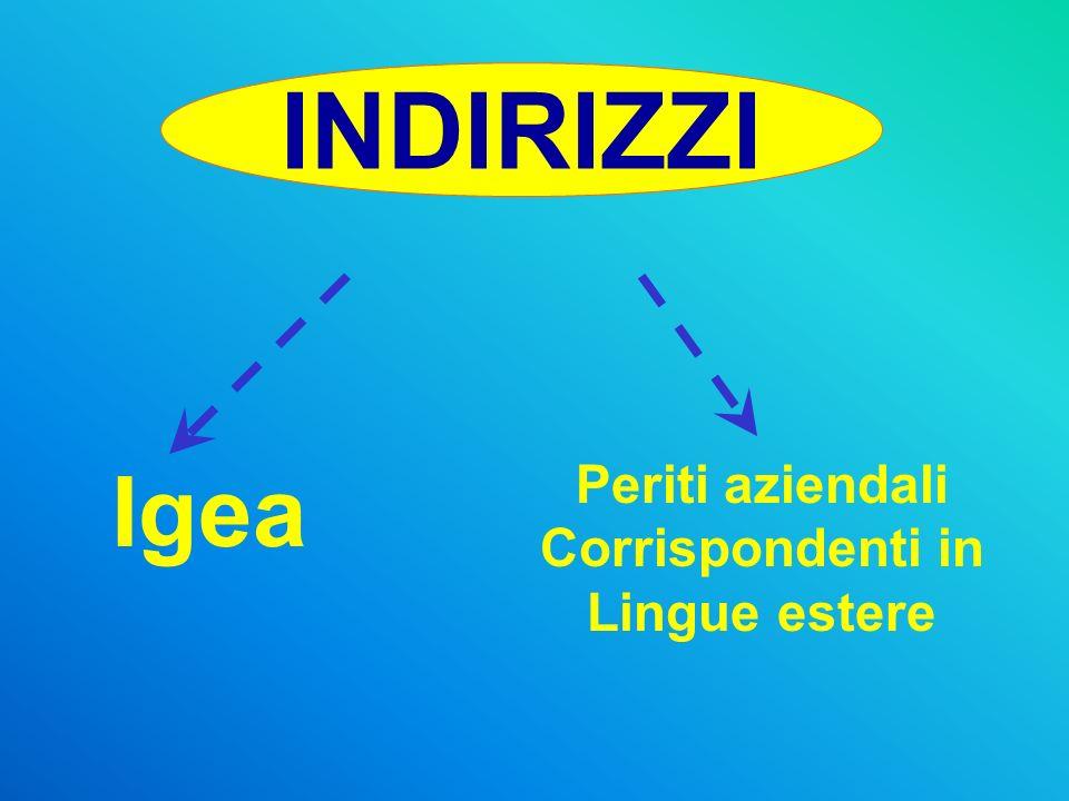 INDIRIZZI Igea Periti aziendali Corrispondenti in Lingue estere