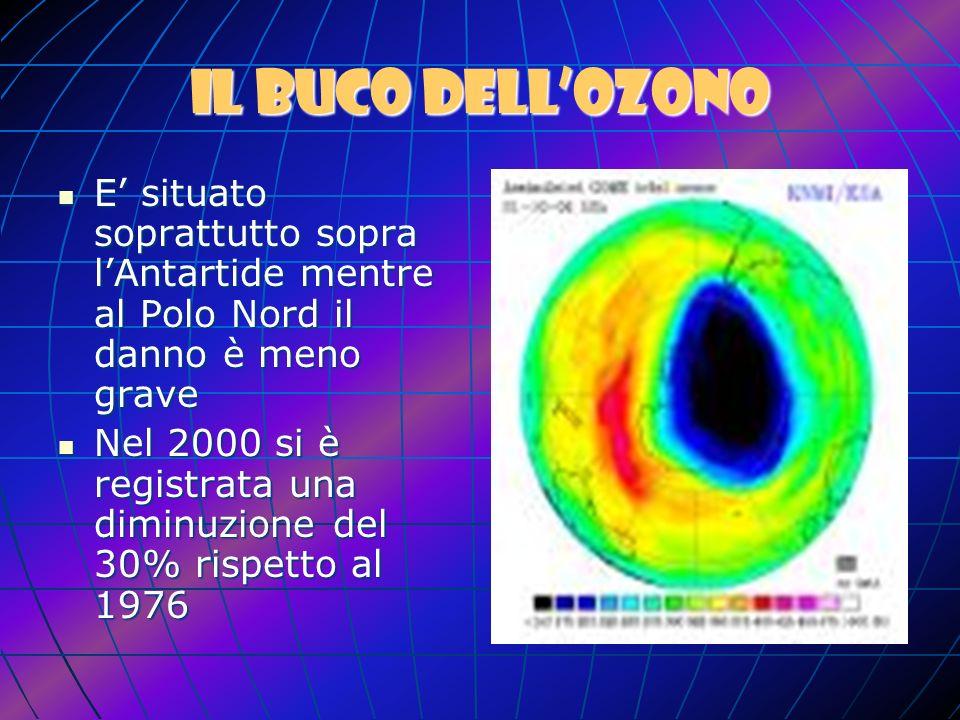 Conseguenze inquinamento atmosferico Buco dellozono (emissioni cfc) Effetto serra (emissioni Co2) Piogge acide (emissioni So2)