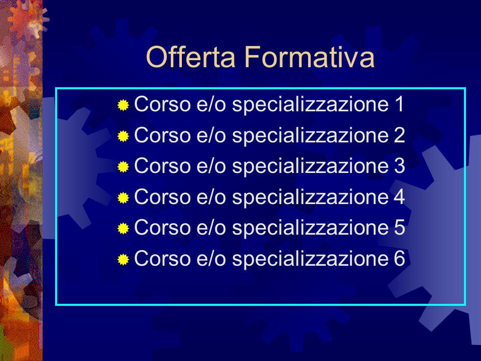 Offerta Formativa Corso e/o specializzazione 1 Corso e/o specializzazione 2 Corso e/o specializzazione 3 Corso e/o specializzazione 4 Corso e/o specializzazione 5 Corso e/o specializzazione 6