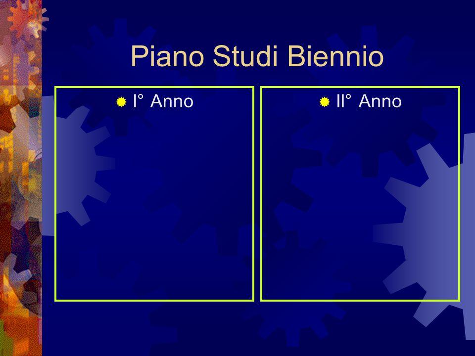 Piano Studi Biennio I° Anno II° Anno