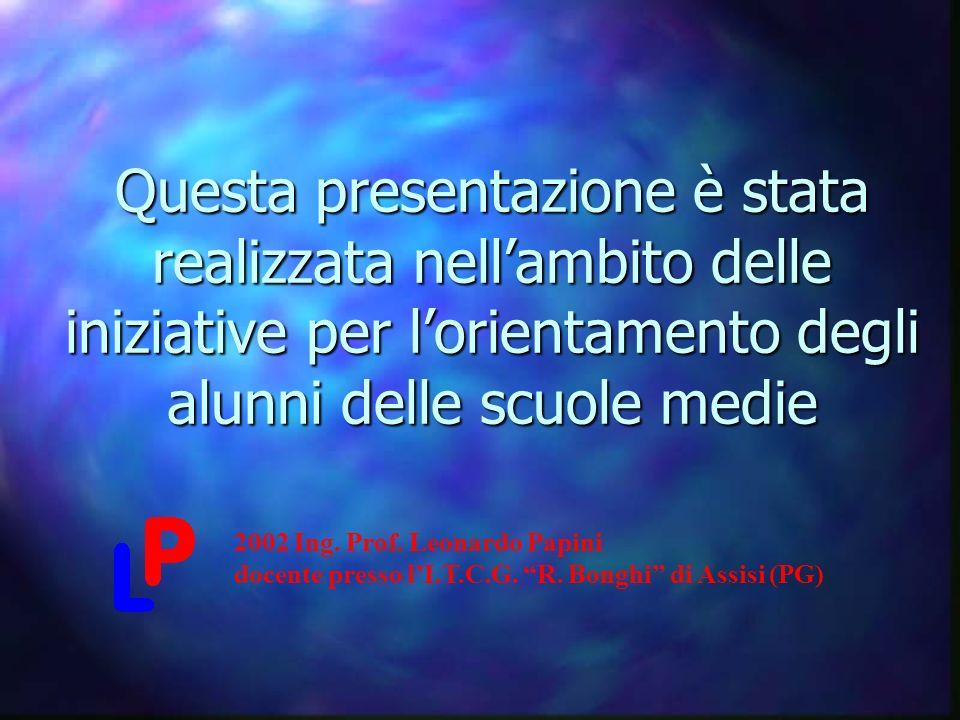Questa presentazione è stata realizzata nellambito delle iniziative per lorientamento degli alunni delle scuole medie 2002 Ing.