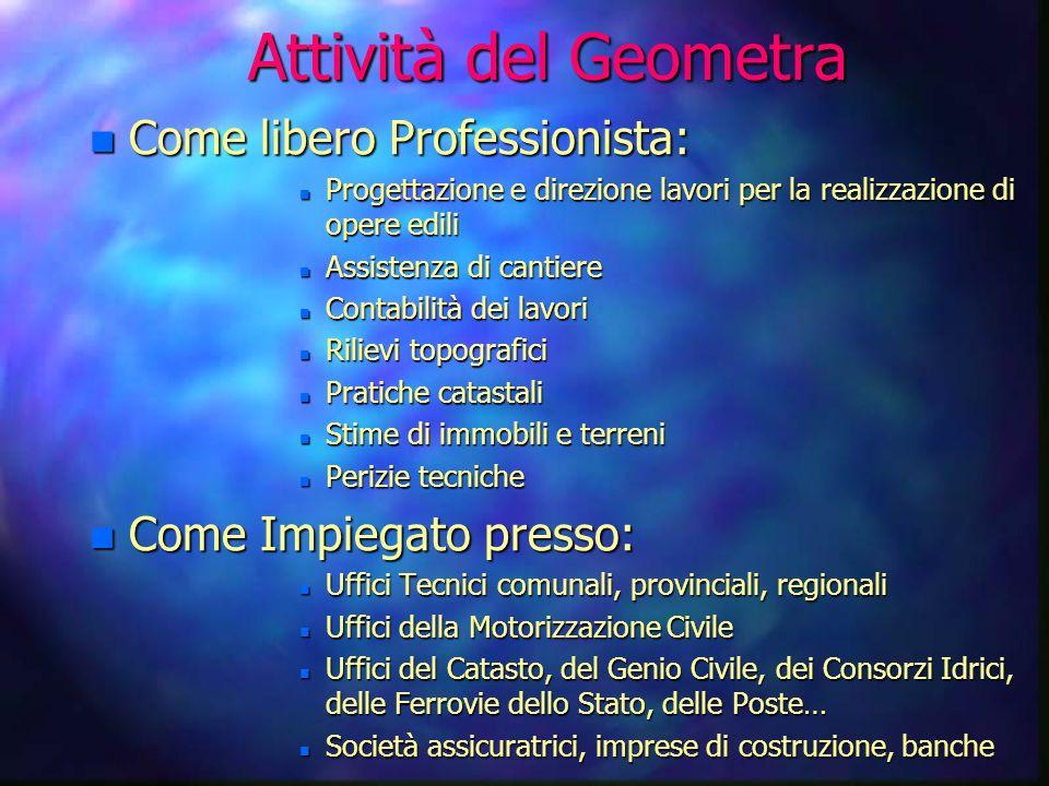 Il Geometra può: n Iscriversi a qualsiasi facoltà universitaria n Essere libero professionista iscrivendosi al proprio albo professionale n Lavorare p