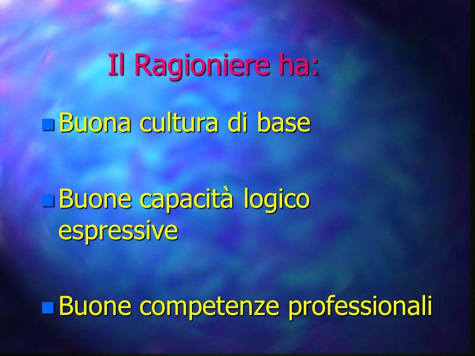 Il Ragioniere ha: n Buona cultura di base n Buone capacità logico espressive n Buone competenze professionali