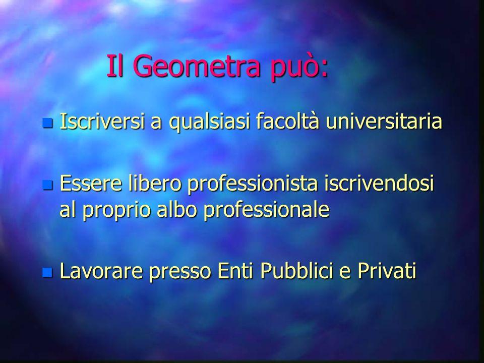 Il Geometra può: n Iscriversi a qualsiasi facoltà universitaria n Essere libero professionista iscrivendosi al proprio albo professionale n Lavorare presso Enti Pubblici e Privati