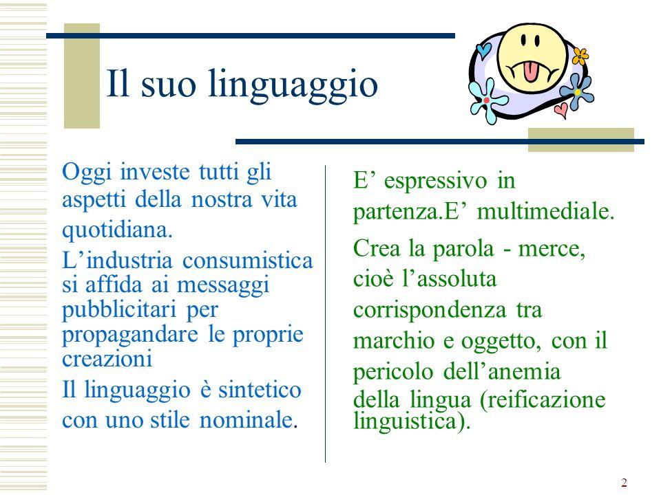 2 Il suo linguaggio Oggi investe tutti gli aspetti della nostra vita quotidiana. Lindustria consumistica si affida ai messaggi pubblicitari per propag