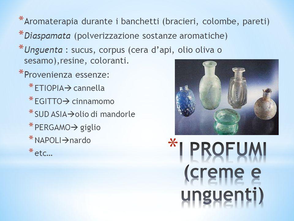 * Aromaterapia durante i banchetti (bracieri, colombe, pareti) * Diaspamata (polverizzazione sostanze aromatiche) * Unguenta : sucus, corpus (cera dap
