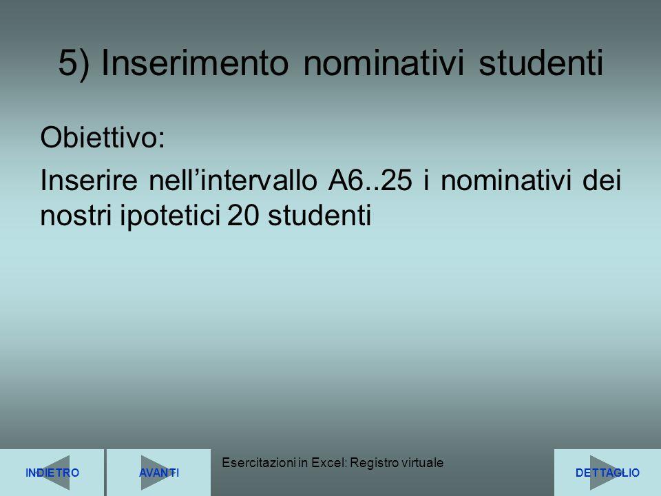 Esercitazioni in Excel: Registro virtuale12 5) Inserimento nominativi studenti Obiettivo: Inserire nellintervallo A6..25 i nominativi dei nostri ipote