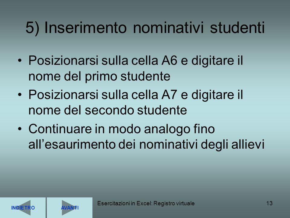 Esercitazioni in Excel: Registro virtuale13 5) Inserimento nominativi studenti Posizionarsi sulla cella A6 e digitare il nome del primo studente Posiz