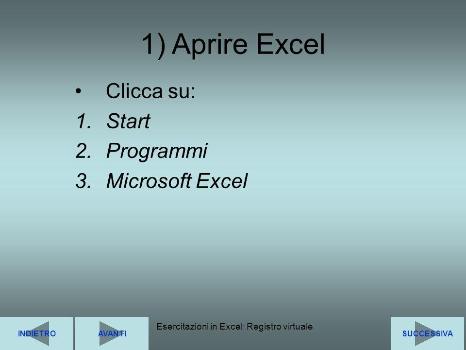 Esercitazioni in Excel: Registro virtuale5 Clicca su: 1.Start 2.Programmi 3.Microsoft Excel SUCCESSIVAINDIETROAVANTI 1) Aprire Excel