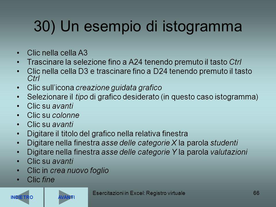 Esercitazioni in Excel: Registro virtuale66 30) Un esempio di istogramma Clic nella cella A3 Trascinare la selezione fino a A24 tenendo premuto il tas
